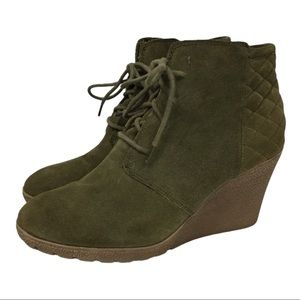 MIA Olive Green Leather Suede Lace Up Wedge Booty